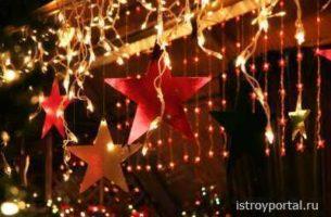 Яркие новогодние праздники со светодиодным дождем