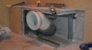Фото и монтаж короба из гипсокартона в туалете