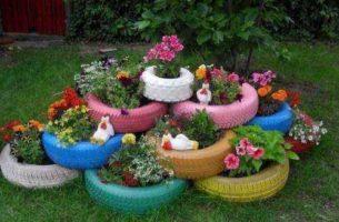 Как сделать из покрышек: клумбы, цветники, фигуры, садовая мебель с фото