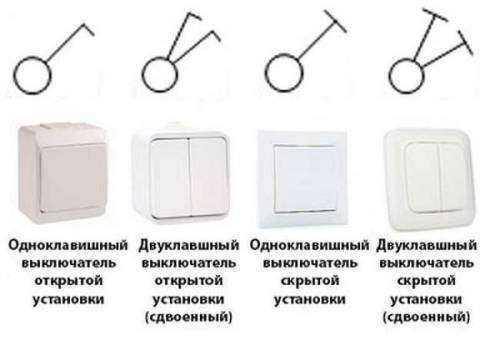 Обозначение на схемах проходной выключатель