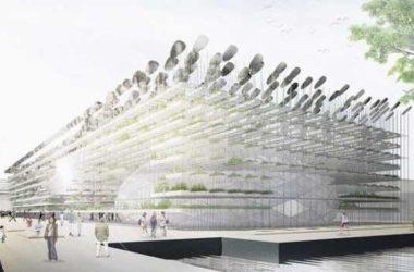 Лес из солнечных панелей на крыше корейского павильона